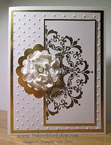 Daydream Medallions gold cut in half card 2014 Daydream Medallions, Rubber Stamping, Mothers Day Cards, Stamp Sets, Flower Cards, Hobbies And Crafts, Greeting Cards Handmade, Stampin Up Cards, Wedding Cards