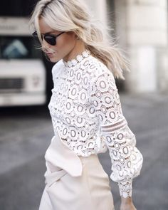 Self Portrait Resort 2016 crochet top #StreetStyle