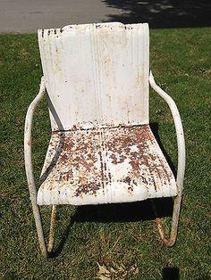 retro reclining metal chair | Metal Lawn Chair Garden Patio Porch Vintage Retro Collectible Mid ...