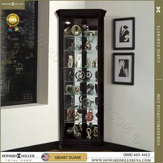 680487-black corner curio cabinet by Howard miller corner display cabinet