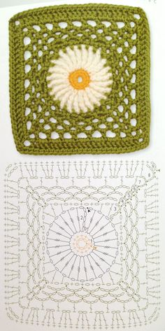Square crochet flower pattern