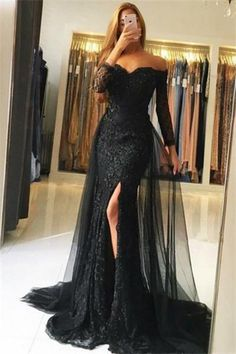 Off The Shoulder Long Sheath Black Lave Tulle Prom Dresses With Sleeves Z0725