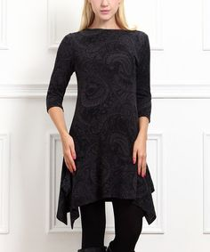 Look what I found on #zulily! Charcoal Paisley Sidetail Dress #zulilyfinds