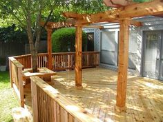 Backyard deck ideas, with pergolas
