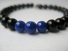 Thin Blue Line - Blue and Black Beaded Bracelet