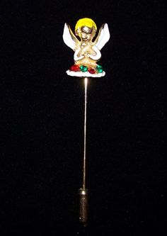 Vintage Stick Pin - Cherub with Rhinestones - offered by Annabelle's Cabinet, $13.00