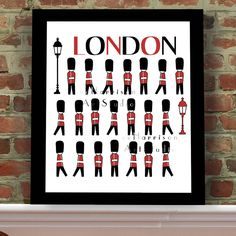 Queens Guards - Children's Art Print - Modern home decor - Boys Room art - Nursery Decor - Red and Black - London Guards - Playroom art Nursery Art, Nursery Decor, Aqua Nursery, Themed Nursery, Room Decor, British Themed Rooms, British Home Decor, Framed Postcards, London Illustration