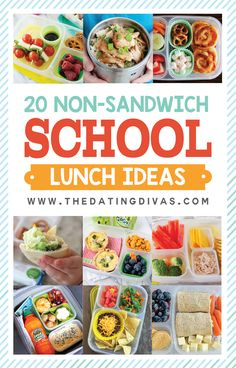 20 Sandwich FREE lunch ideas for kids! These are so do-able (quick and easy)! No more boring school lunches! www.TheDatingDivas.com