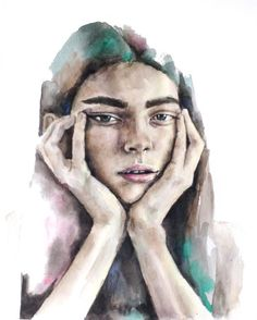 Selected works — Terese B. Watercolor Portraits, Watercolour, Beautiful Words, Statue, Illustration, Art, Pictures, Pen And Wash, Art Background