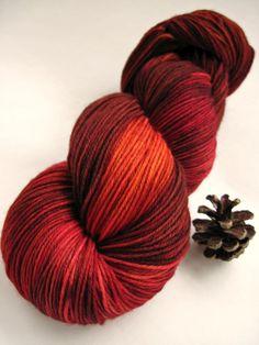 Colorway: Blood Orange    Base Yarn: Bare - 75% Superwash Merino Wool / 25% Nylon 462 yards / 100 grams  Fingering Weight 7-8 sts / inch on