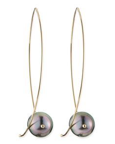 Mizuki 14k Gold Black Tahitian Pearl Earrings