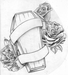 awesome Tattoo Trends - Coffin Tattoo Design Idea With Roses And Banner - Coffin Tattoo Designs