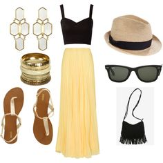 Crop top+Maxi Skirt+Fringe+Bangles by brittanyinscore on Polyvore featuring polyvore, fashion, style, Lipsy, MANGO, Oasis, Kara Ross, Wet Seal, Madewell and Ray-Ban