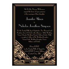 """Geometric Art Deco Gatsby Style Wedding Invites A bold and elegant, vintage style wedding invitation with a roaring twenties """"Great Gatsby"""" theme in black and gold tones. A black background highlights the intricate geometric, Art Deco style border in golden beige tones. Decorative, period style fonts have been selected for your event wording"""