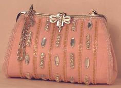 LOVE Cute Wallets, Pocket Books, Beaded Trim, Vintage Purses, Pink Silk, Gold Beads, Crystal Rhinestone, Coin Purse, Kate Spade