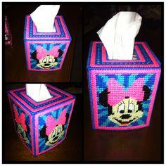 Plastic Canvas Tissue box cover- Minnie Mouse