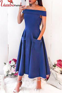 Womens Off Shoulder Evening Dress For Pockets Casual Split Summer Beach  Sundress Casual Summer Dresses 4b186527cb58
