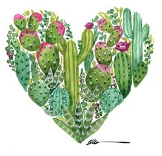 Cactus Heart original watercolor painting – Home living color wall treatment kitchen design Cactus Drawing, Cactus Painting, Watercolor Cactus, Heart Painting, Watercolor Paintings, Cactus House Plants, Cactus Decor, Cactus Art, Cactus Flower