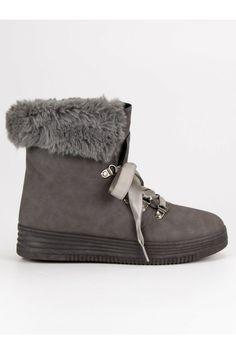 Sivé topánky s kožušinou CnB Moccasins, Flats, Shoes, Fashion, Penny Loafers, Loafers & Slip Ons, Moda, Loafers, Zapatos