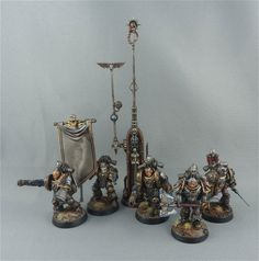 Iron-Warriors Legion Command Squad: Legion Champion, Apothecary & Comms-Relay.