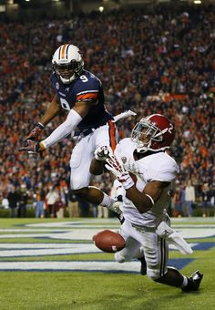 DeAndrew White #2 of the Alabama Crimson Tide fails to complete a third quarter pass against the defense of Jermaine Whitehead #9 of the Auburn Tigers at Jordan-Hare Stadium on November 30, 2013 in Auburn, Alabama.