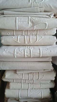White embroidered linen