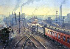 Fine Art Prints of Railway Scenes & Train Portraits - Warrington Bank Quay Station in Train Drawing, Steam Art, Old Steam Train, Railroad Pictures, Steam Railway, Train Art, Train Pictures, Train Tickets, Steam Locomotive