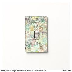 Passport Stamps Travel Pattern Light Switch Cover May 7 2017 #spring #junkydotcom