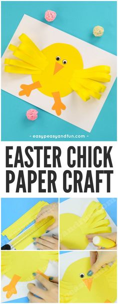 Cute Easter Chick Paper Craft Idea for Kids #Eastercrafts #chickcrafts #papercraftsforkids