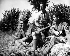"Caption: ""Young French resistants posing with their German weapons. 1944. The resistance maquis managed to get together a wide variety of young men. Most of them started joining the resistance when called to work for the German war effort. Some of them were former soldiers who escaped captivity or political activists who received a strong political education prior to the war. The span of profiles in the maquis is quite impressive."""