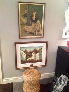 two pieces of art stacked in a foyer Hanging Pictures, Small Tables, Hanging Art, Home Look, Foyer, Art Pieces, Interior Design, Create, Artwork