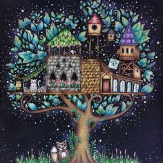 Adult Coloring Books Tree Houses Book Art Forests Johanna Basford Secret Garden Enchanted Forest Pictures Joanna