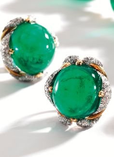 Pair of Platinum, 18 Karat Gold, Emerald and Diamond Earclips, Verdura - Sothebys Emerald Earrings, Emerald Jewelry, Pendant Earrings, Diamond Earing, Diamond Art, Emerald Diamond, Emerald Green, Jewelery, Jewelry Necklaces