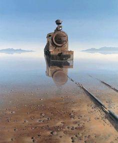 Abandoned train in desert
