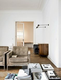 Living Room, white walls, club chairs, sideboard