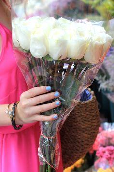 Bright white, bright pink and Essie Bikini So Teeny = perfection