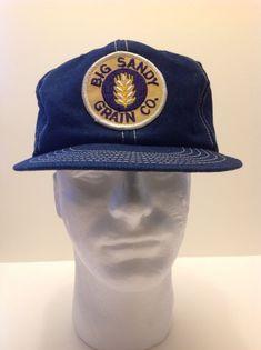 1ec26726058 Vintage 80 s Big Sandy Montana Grain Co Patch Denim Trucker Hat Cap Snapback  Mint Senco USA