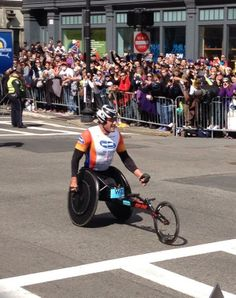 Here's Ernst vanDyk after winning his 10th Boston Marathon men's wheelchair race! Photo Universal Sports
