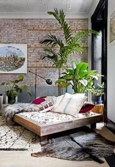 Low platform boho bedroom design