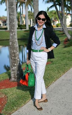 Ralph Lauren White Pants, Light Blue Ann Taylor French Cuff Shirt, Merino Wool Knit Double-Breasted Blazer, Green Cole-Haan Belt and Bag, Animal Print (Leopard) Coach Flats, and Ralph Lauren Sunglasses. A preppy outfit!