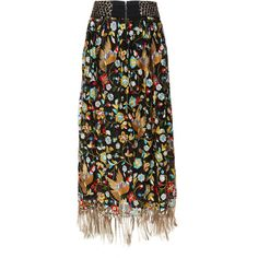 Kamryn Embroidered Wide Waistband Gathered Maxi Skirt | Alice + Olivia (2.480 BRL) ❤ liked on Polyvore featuring skirts, bottoms, gathered skirt, ruched skirt, long ruched skirt, embroidered skirt and shirred skirt