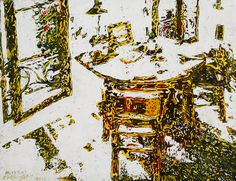 """parisian interior with slightly open window 15.5"""" x 20""""   micheal zarowsky /  Mixed media (watercolour / acrylic painted directly on gessoed birch panel) Available   $600.00"""
