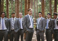 mixed-matched blue tie for groomsmen | Photo by Lime Green Photography | 100 Layer Cake