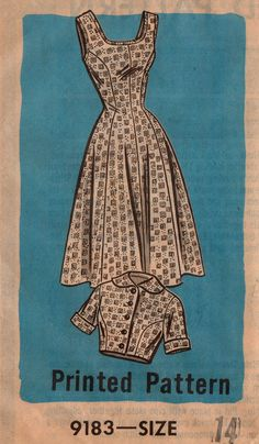 Mail Order 9183 1950s Misses  Scoop Neck Princess Seam  Dress and Bolero Jacket vintage sewing pattern by mbchills
