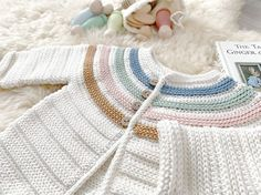 Learn how to make this GINGER Crochet Jacket with color stripes. FREE Step by Step Tutorial & Pattern. Onesie Pattern, Crochet Jacket Pattern, Baby Sweater Knitting Pattern, Crochet Baby Cardigan, Knitted Romper, Baby Knitting Patterns, Knit Crochet, Sewing Patterns, Baby Kimono