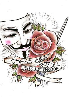 V for Vendetta, tattoo, traditional, ideas are bulletproof, mask, rose, baton
