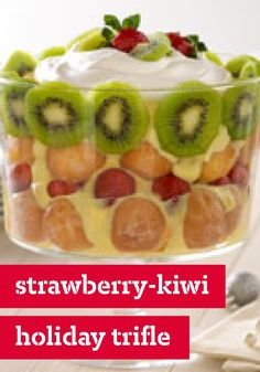 Strawberry-Kiwi Holiday Trifle – Has there ever been a trifle more awesome—or quick—than this Strawberry-Kiwi Holiday Trifle? Made with glazed donut holes, prepped in 15 minutes.