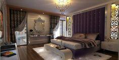 Unbelievably Elegant Design Purple Bedroom: The White Fur Rug Of Ravishing Purple Bedroom Designs