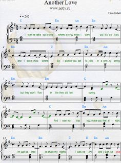 Tom Odell — Another Love Download PDF Piano Sheet Music