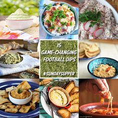 15 Football Dips - Hello game day. You know you need these recipes for your tailgating spread. Find them and others at www.sundaysuppermovement.com #SundaySupper
